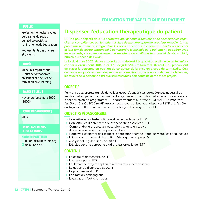 Dispenser L Education Therapeutique Du Patient Ireps Bourgogne Franche Comte